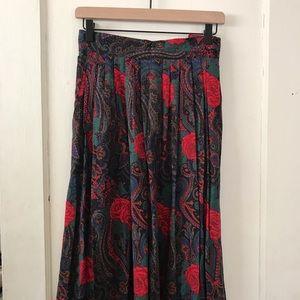 Vintage Brigg's Rose & Paisley Pleated Midi Skirt